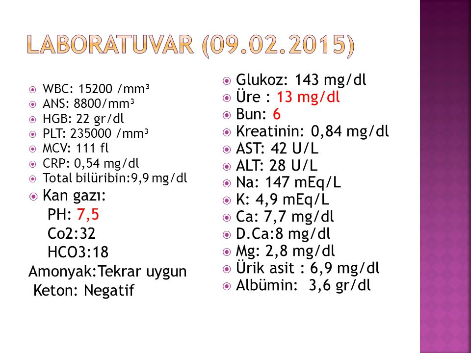 Laboratuvar (09.02.2015) Glukoz: 143 mg/dl Üre : 13 mg/dl Bun: 6
