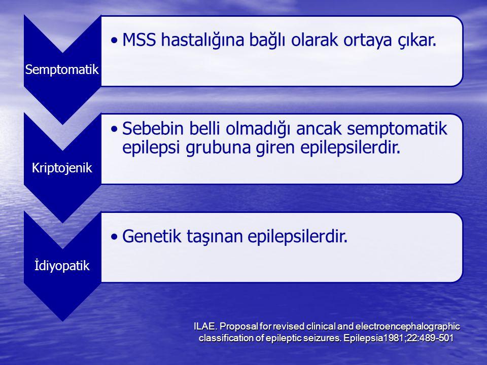 Semptomatik MSS hastalığına bağlı olarak ortaya çıkar. Kriptojenik. Sebebin belli olmadığı ancak semptomatik epilepsi grubuna giren epilepsilerdir.