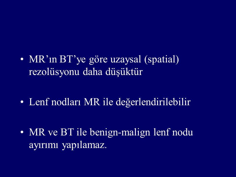 MR'ın BT'ye göre uzaysal (spatial) rezolüsyonu daha düşüktür