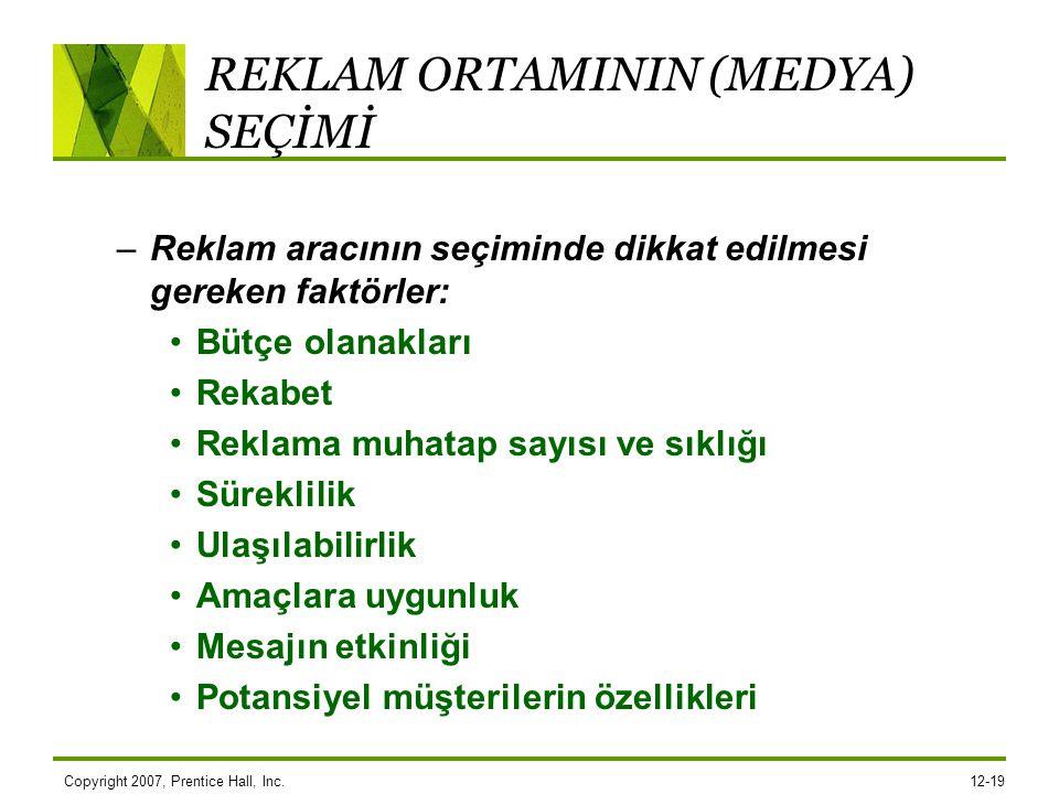 REKLAM ORTAMININ (MEDYA) SEÇİMİ