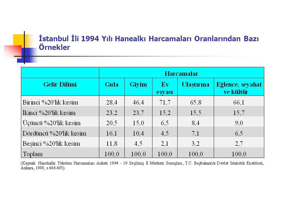 İstanbul İli 1994 Yılı Hanealkı Harcamaları Oranlarından Bazı Örnekler
