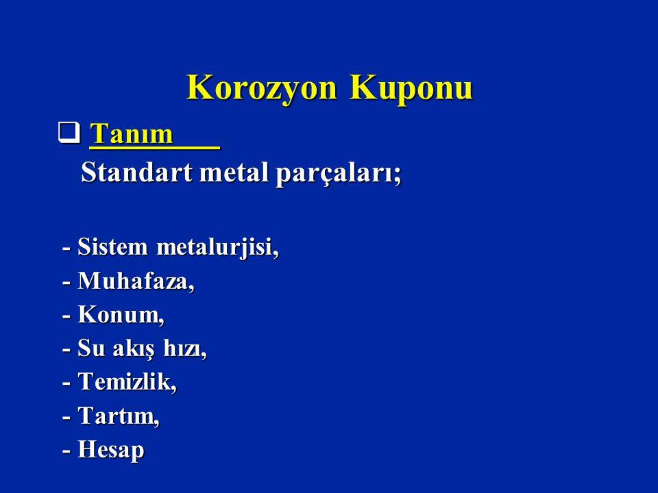 Korozyon Kuponu Tanım Standart metal parçaları; - Sistem metalurjisi,