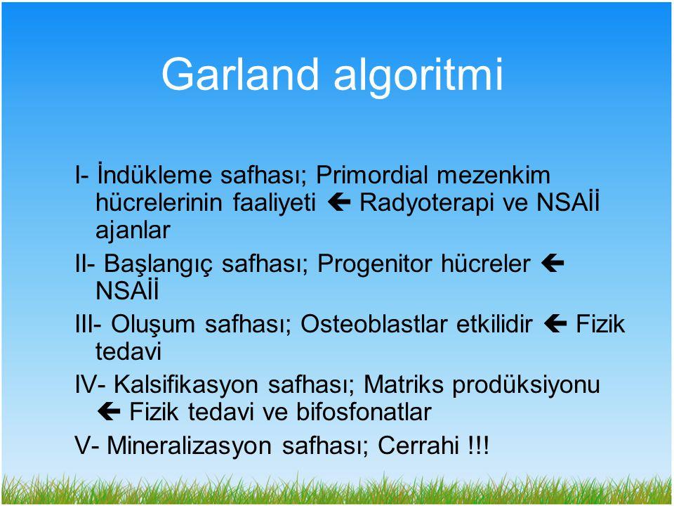 Garland algoritmi I- İndükleme safhası; Primordial mezenkim hücrelerinin faaliyeti  Radyoterapi ve NSAİİ ajanlar.