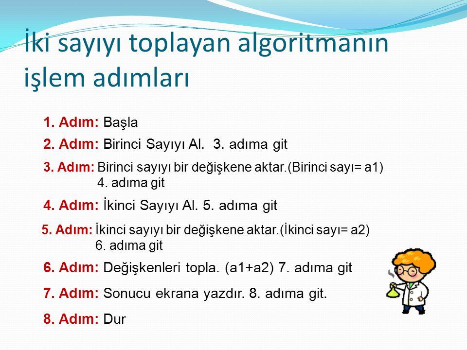 İki sayıyı toplayan algoritmanın işlem adımları