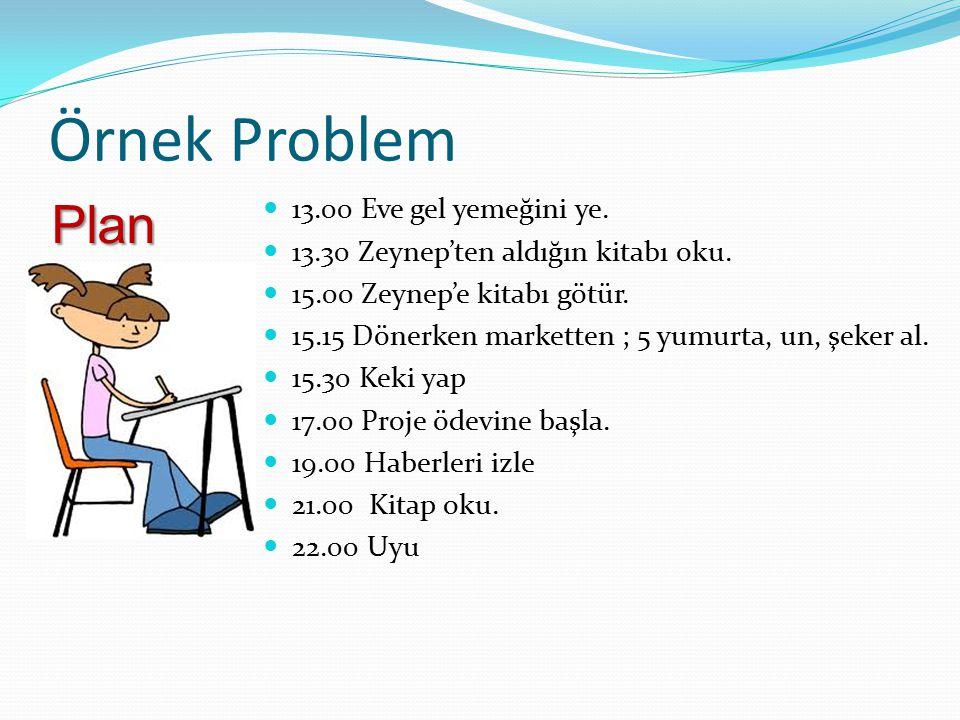 Örnek Problem Plan 13.00 Eve gel yemeğini ye.