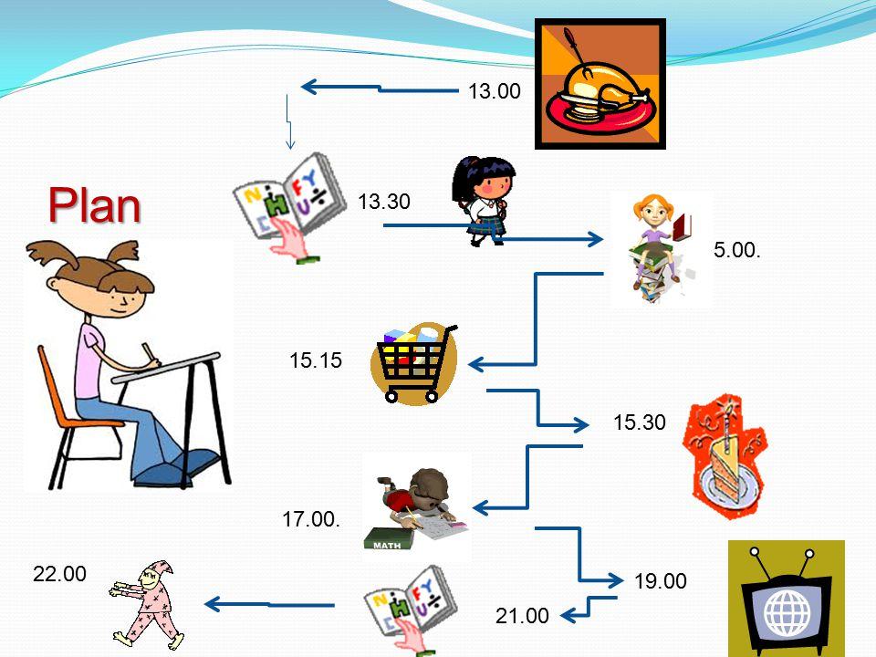 13.00 Plan 13.30 15.00. 15.15 15.30 17.00. 22.00 19.00 21.00