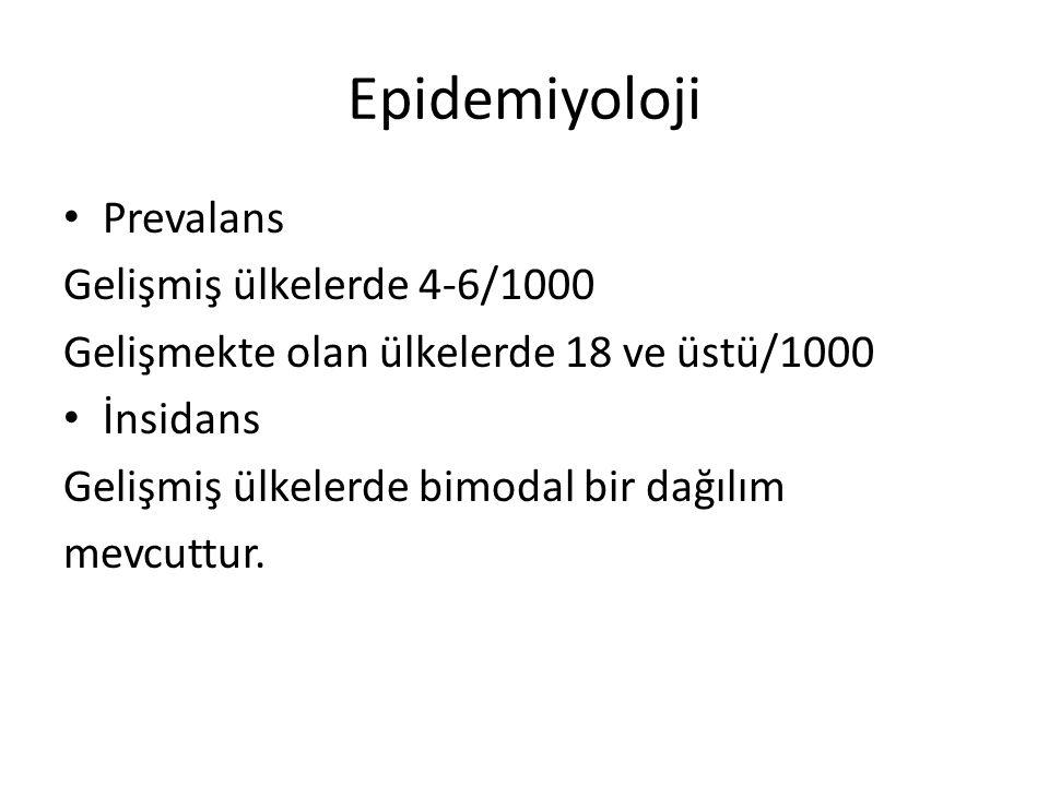 Epidemiyoloji Prevalans Gelişmiş ülkelerde 4-6/1000