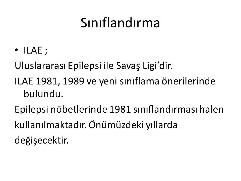 Sınıflandırma ILAE ; Uluslararası Epilepsi ile Savaş Ligi'dir.