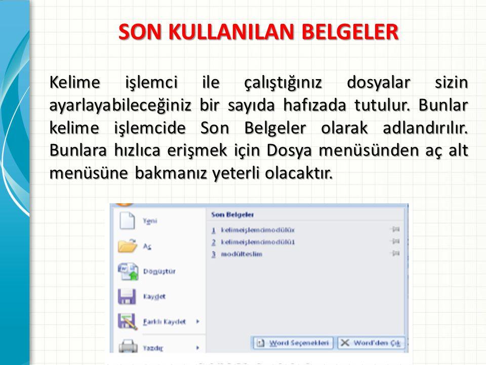 SON KULLANILAN BELGELER