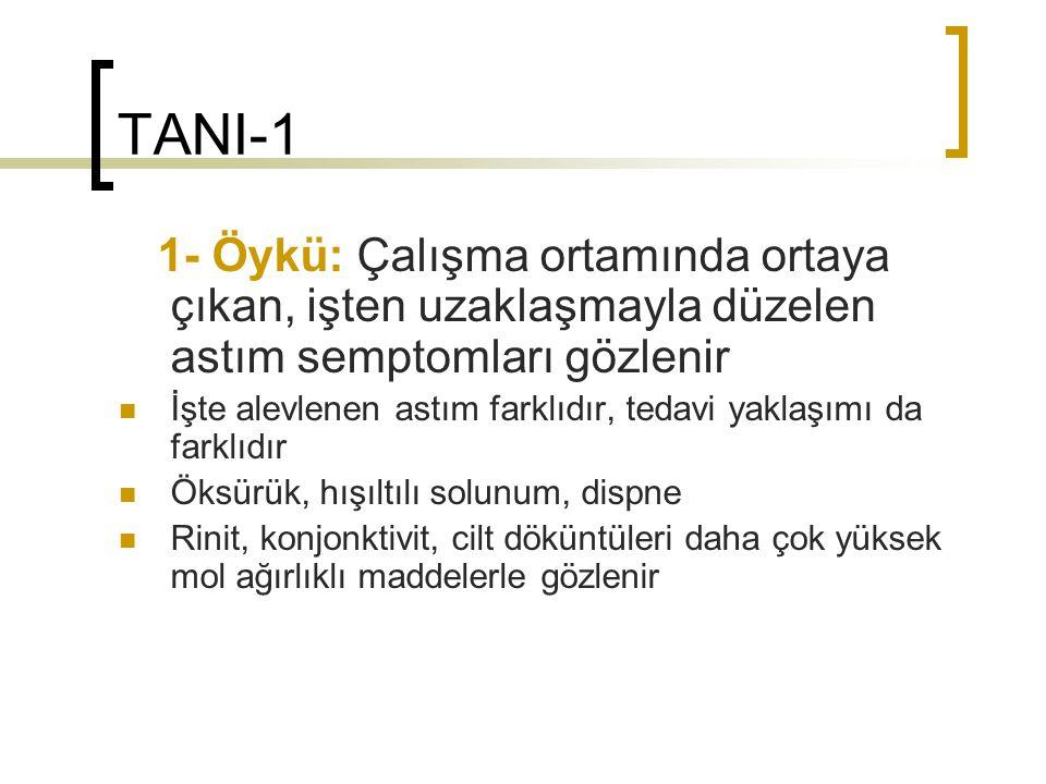 TANI-1 1- Öykü: Çalışma ortamında ortaya çıkan, işten uzaklaşmayla düzelen astım semptomları gözlenir.