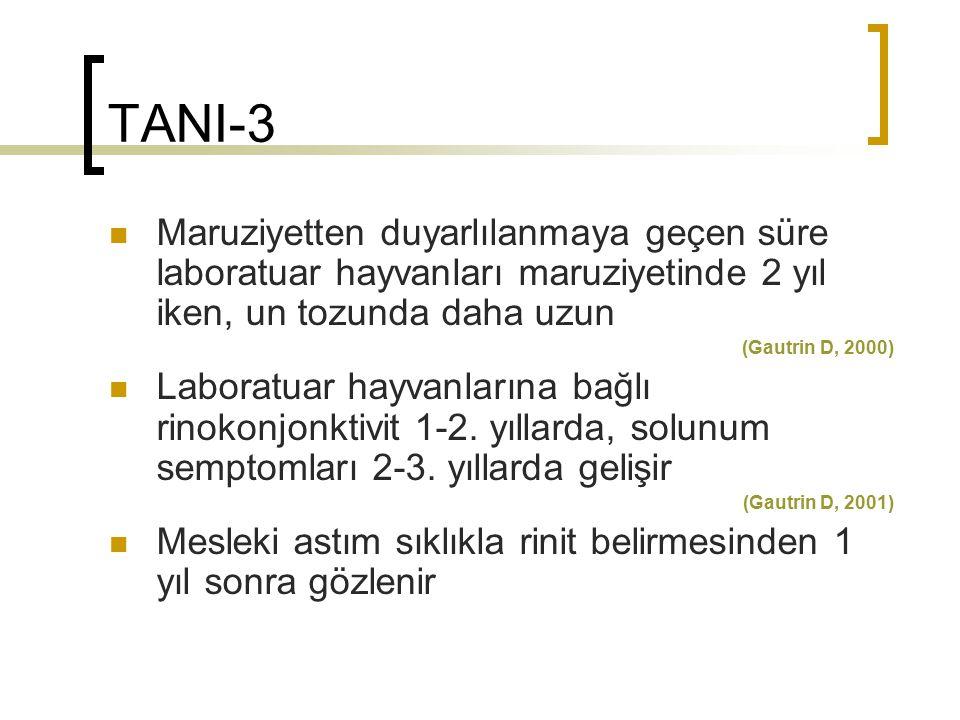 TANI-3 Maruziyetten duyarlılanmaya geçen süre laboratuar hayvanları maruziyetinde 2 yıl iken, un tozunda daha uzun.