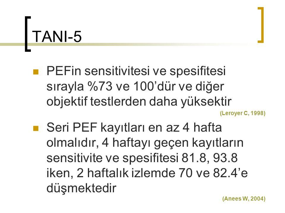 TANI-5 PEFin sensitivitesi ve spesifitesi sırayla %73 ve 100'dür ve diğer objektif testlerden daha yüksektir.