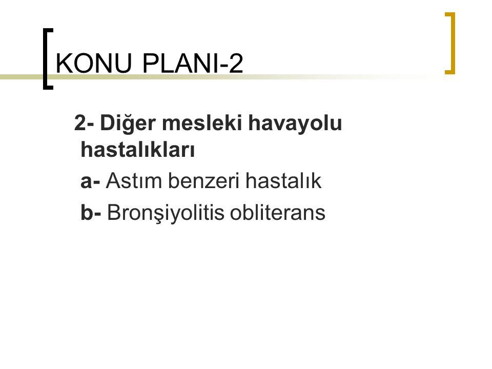 KONU PLANI-2 2- Diğer mesleki havayolu hastalıkları