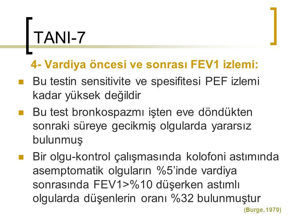 TANI-7 4- Vardiya öncesi ve sonrası FEV1 izlemi: