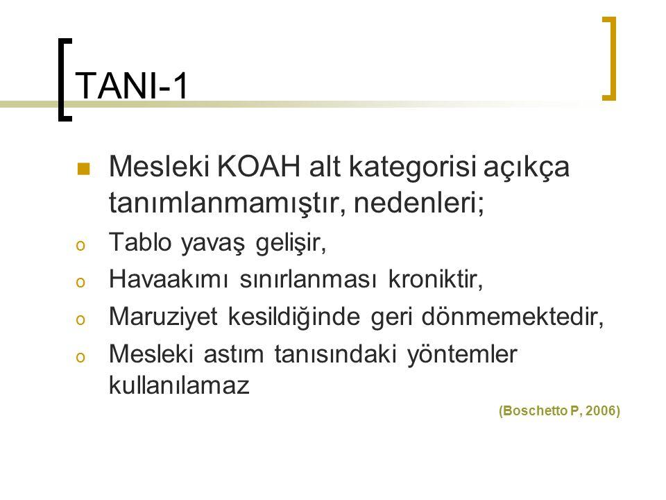 TANI-1 Mesleki KOAH alt kategorisi açıkça tanımlanmamıştır, nedenleri;