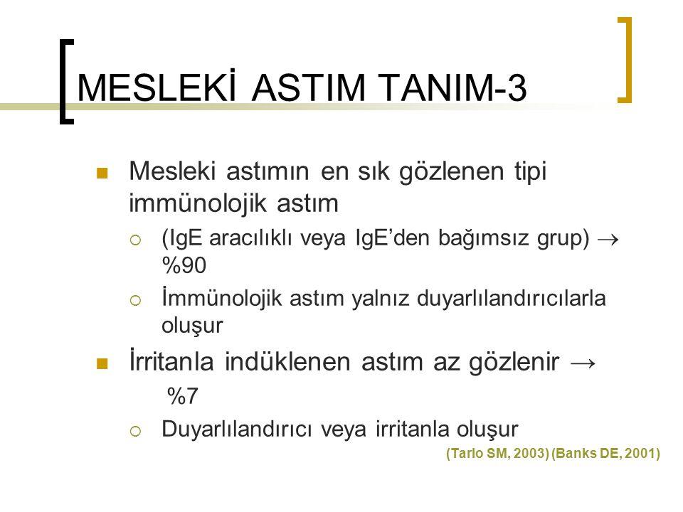 MESLEKİ ASTIM TANIM-3 Mesleki astımın en sık gözlenen tipi immünolojik astım. (IgE aracılıklı veya IgE'den bağımsız grup)  %90.