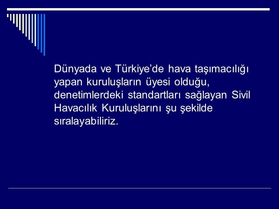 Dünyada ve Türkiye'de hava taşımacılığı yapan kuruluşların üyesi olduğu, denetimlerdeki standartları sağlayan Sivil Havacılık Kuruluşlarını şu şekilde sıralayabiliriz.