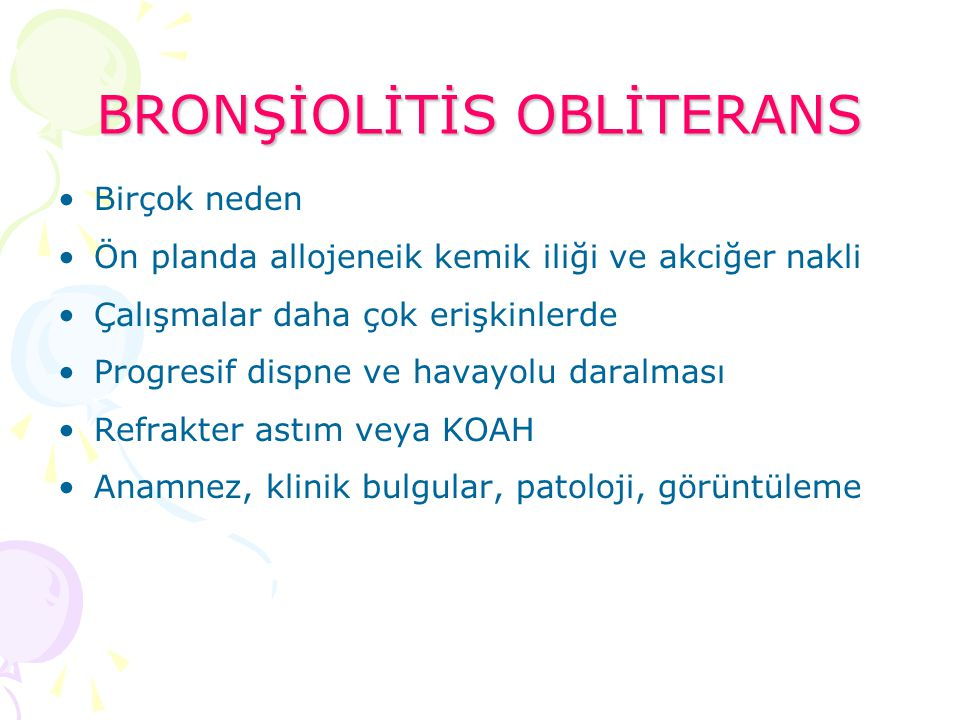 BRONŞİOLİTİS OBLİTERANS
