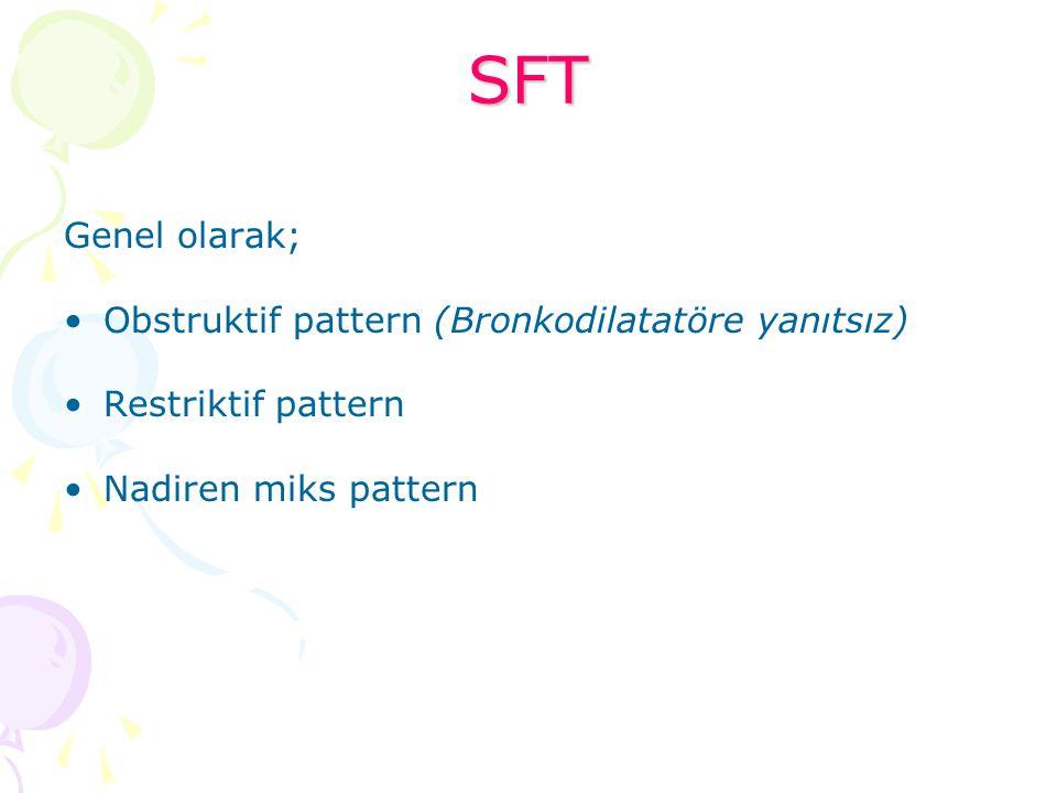 SFT Genel olarak; Obstruktif pattern (Bronkodilatatöre yanıtsız)