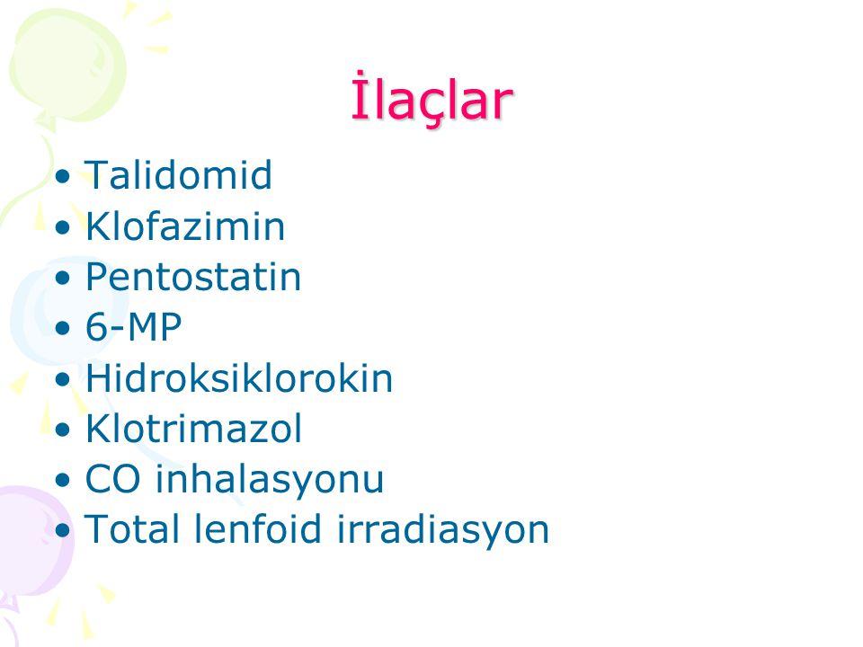 İlaçlar Talidomid Klofazimin Pentostatin 6-MP Hidroksiklorokin