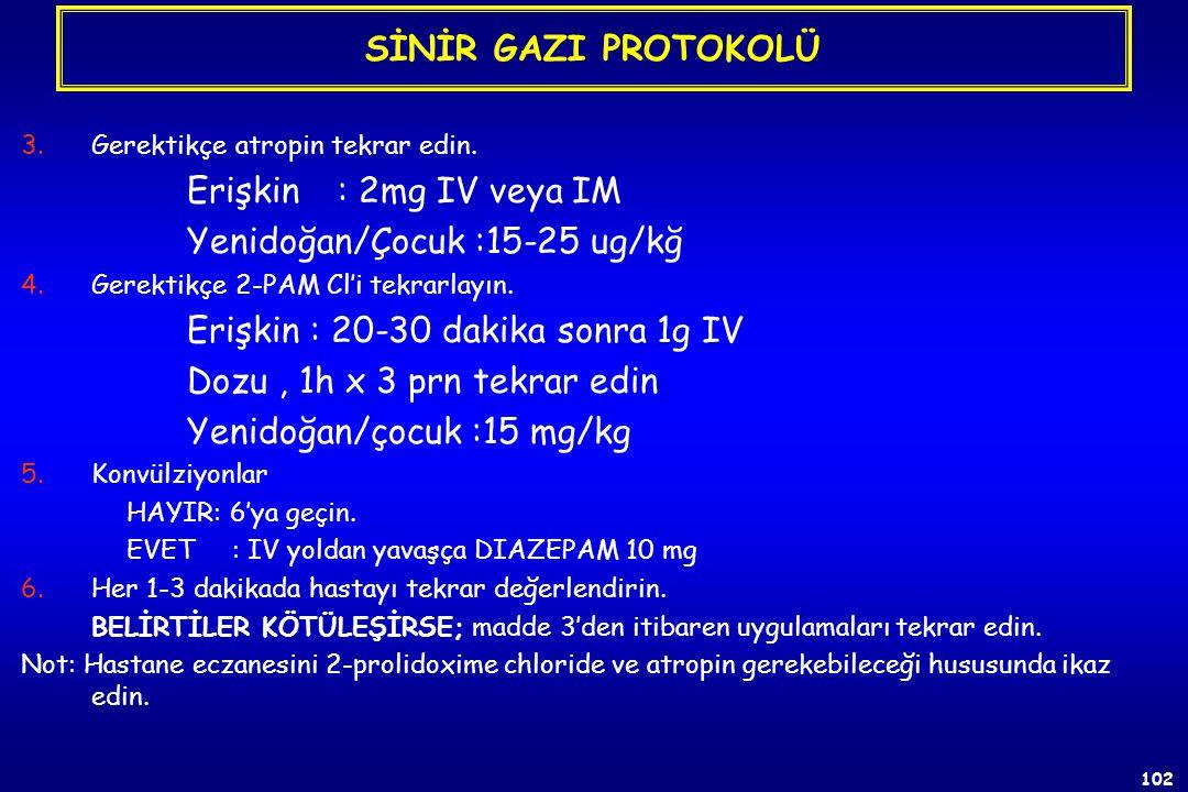 Yenidoğan/Çocuk :15-25 ug/kğ Erişkin : 20-30 dakika sonra 1g IV