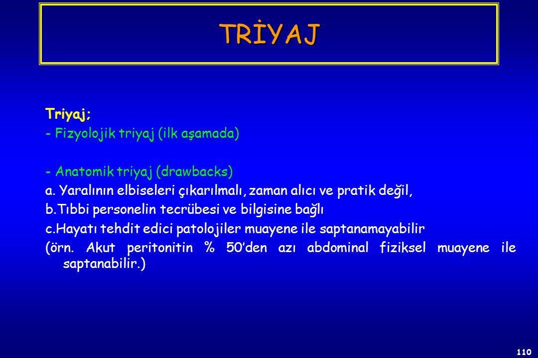 TRİYAJ Triyaj; - Fizyolojik triyaj (ilk aşamada)