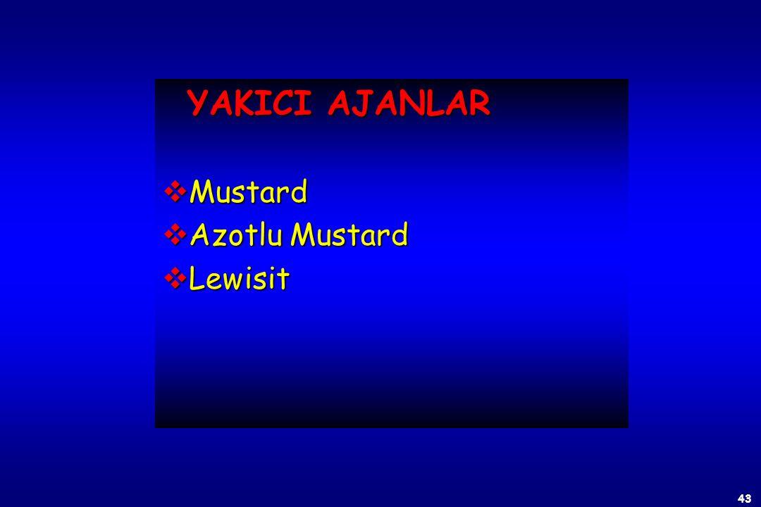 YAKICI AJANLAR Mustard Azotlu Mustard Lewisit