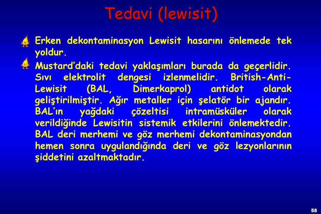 Tedavi (lewisit) Erken dekontaminasyon Lewisit hasarını önlemede tek yoldur.