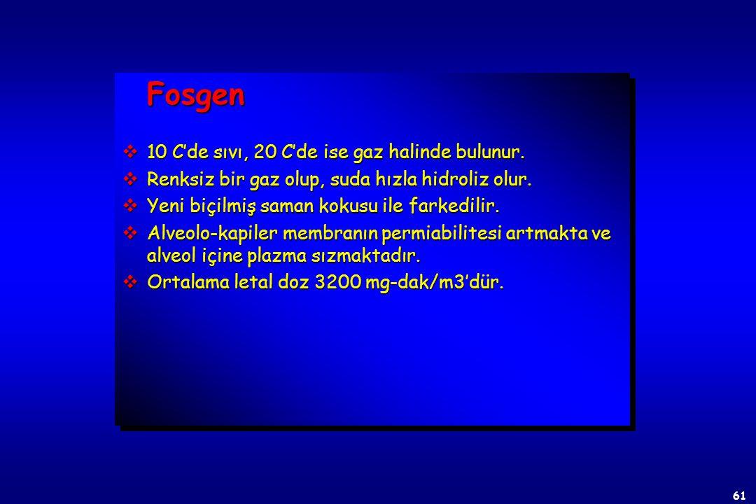 Fosgen 10 C'de sıvı, 20 C'de ise gaz halinde bulunur.