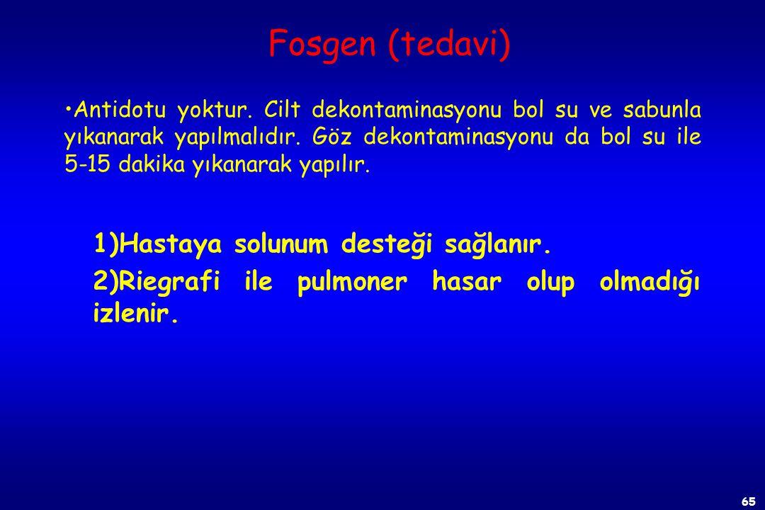 Fosgen (tedavi) 1)Hastaya solunum desteği sağlanır.