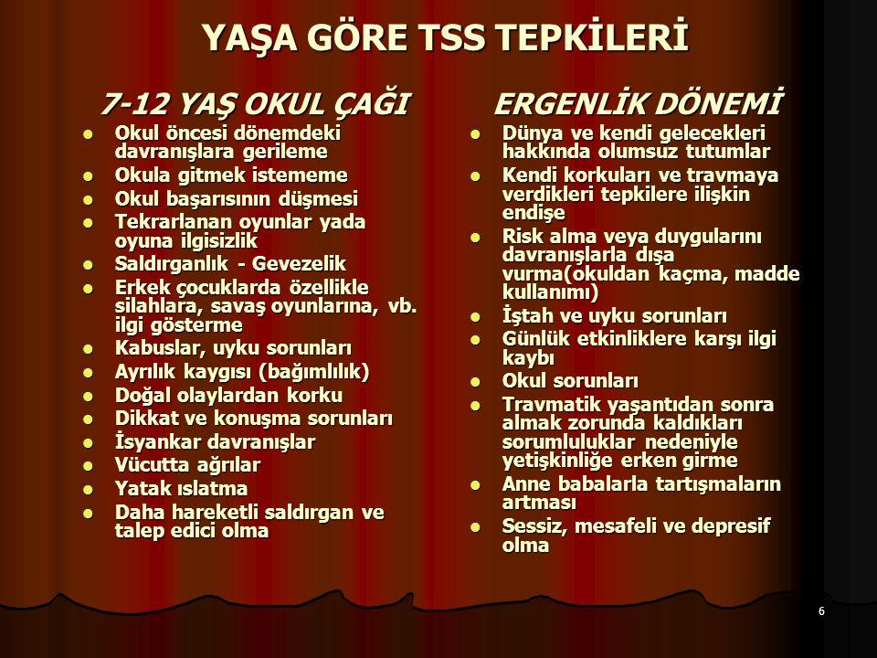 YAŞA GÖRE TSS TEPKİLERİ