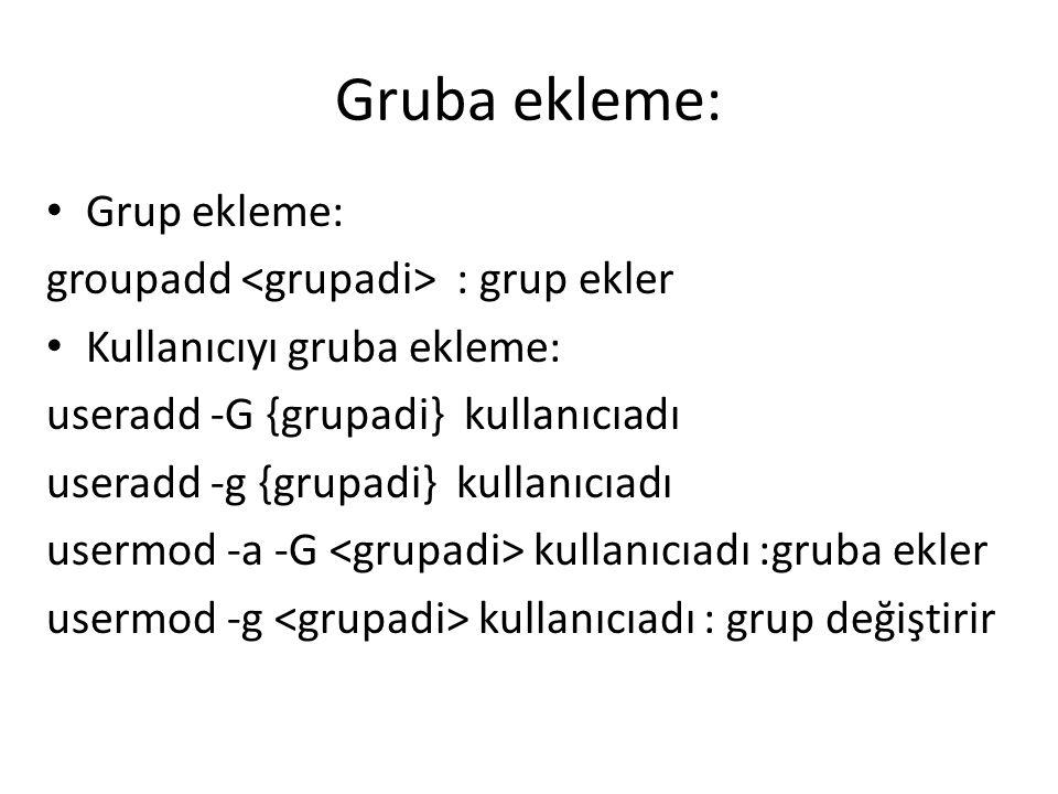 Gruba ekleme: Grup ekleme: groupadd <grupadi> : grup ekler