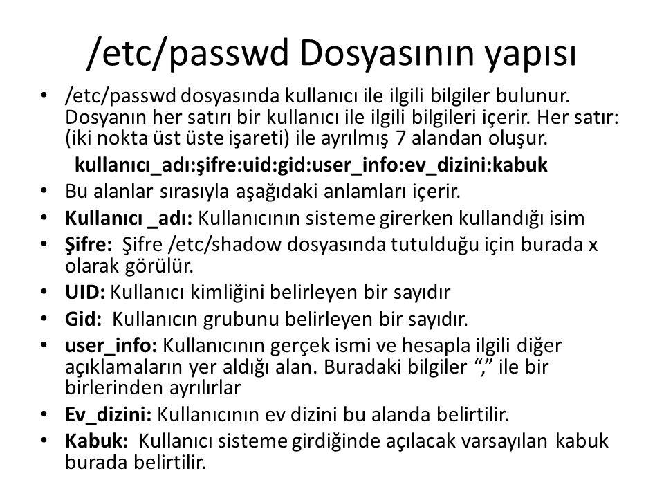 /etc/passwd Dosyasının yapısı