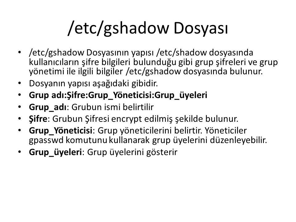 /etc/gshadow Dosyası