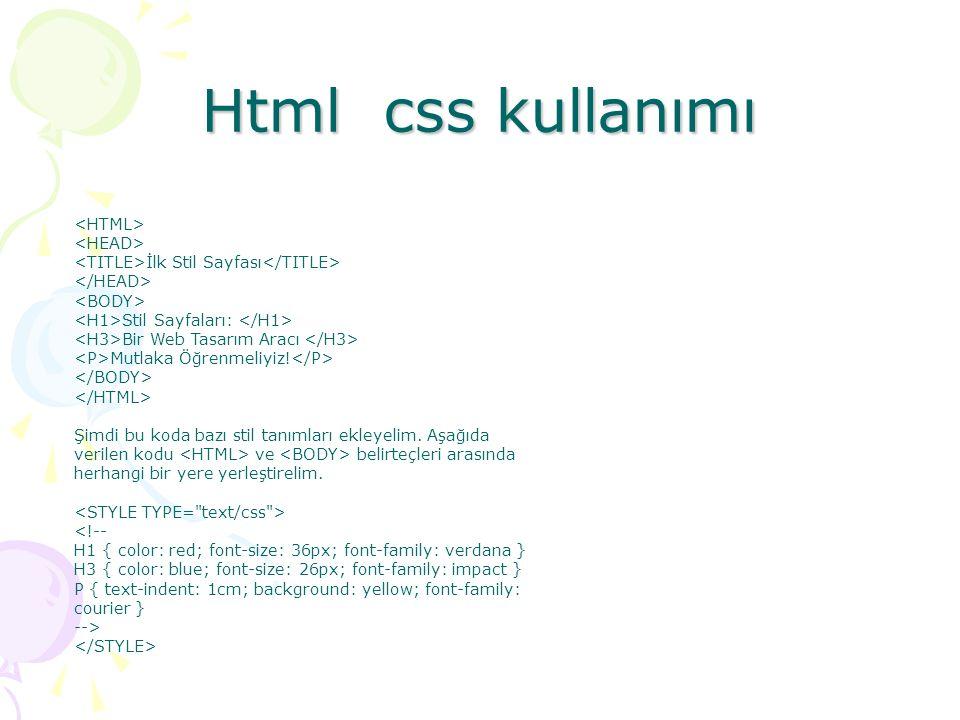 Html css kullanımı <HTML> <HEAD>