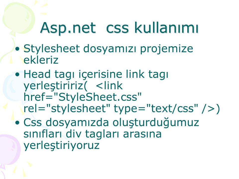 Asp.net css kullanımı Stylesheet dosyamızı projemize ekleriz