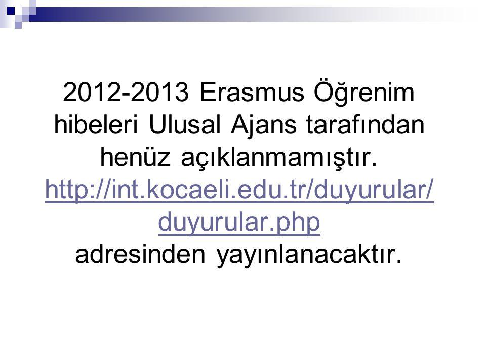 2012-2013 Erasmus Öğrenim hibeleri Ulusal Ajans tarafından henüz açıklanmamıştır.