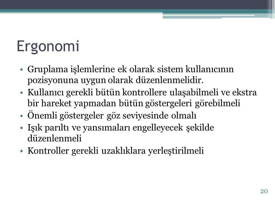 Ergonomi Gruplama işlemlerine ek olarak sistem kullanıcının pozisyonuna uygun olarak düzenlenmelidir.