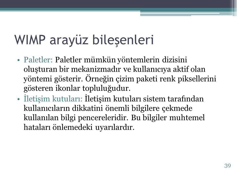 WIMP arayüz bileşenleri