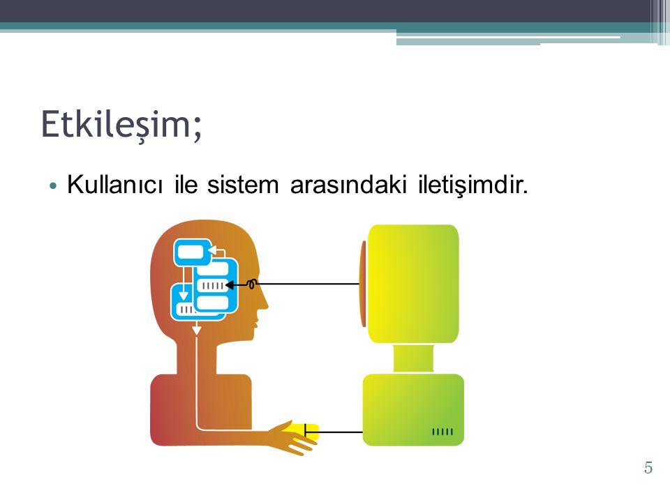 Etkileşim; Kullanıcı ile sistem arasındaki iletişimdir.
