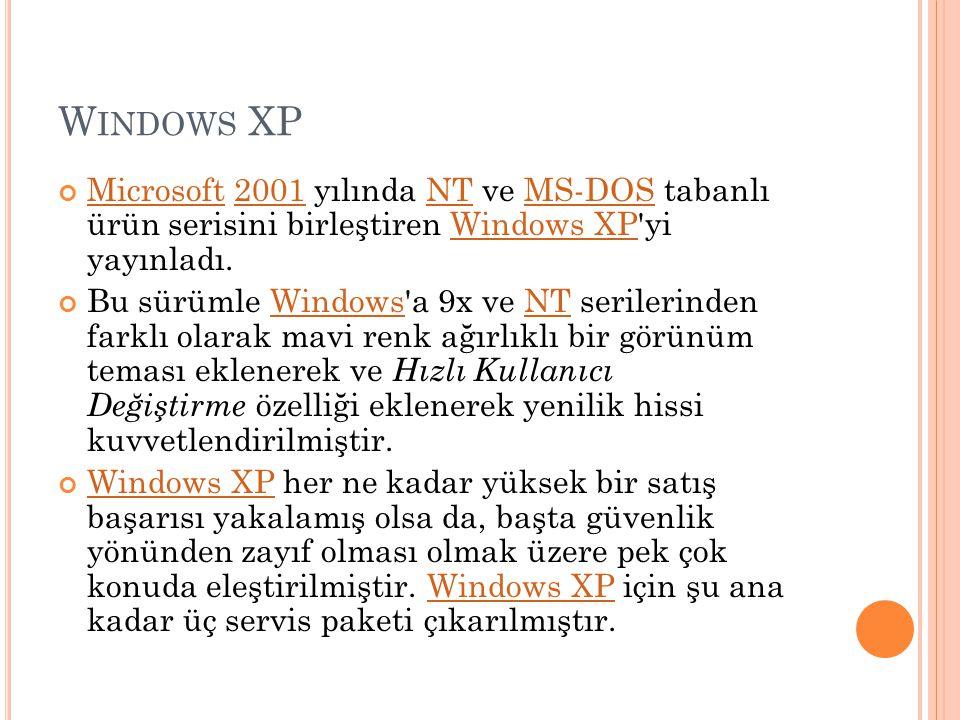 Windows XP Microsoft 2001 yılında NT ve MS-DOS tabanlı ürün serisini birleştiren Windows XP yi yayınladı.