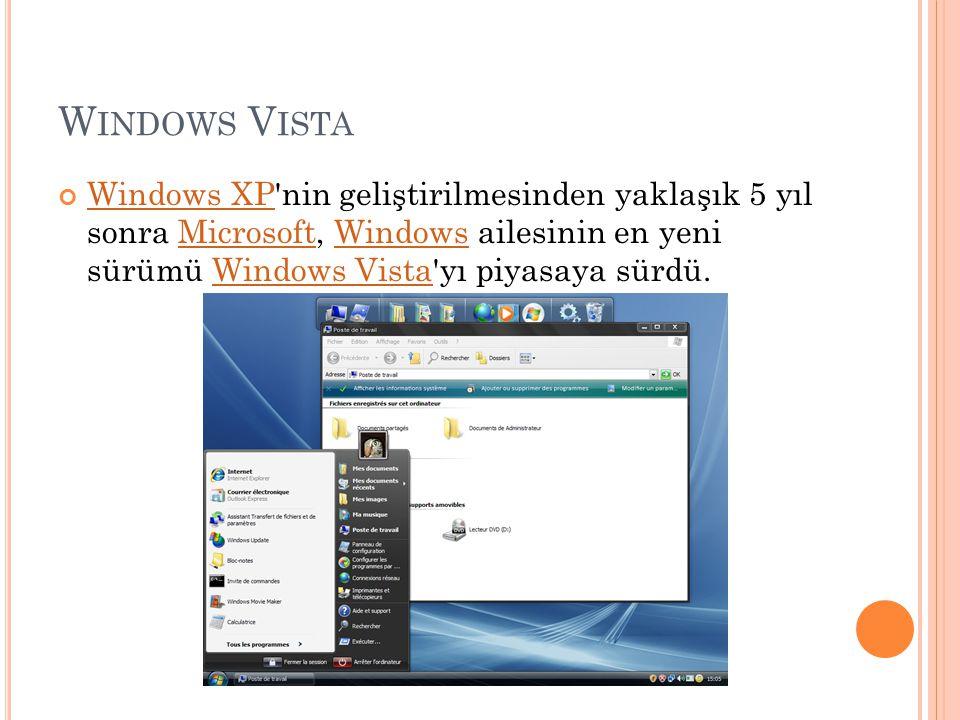 Windows Vista Windows XP nin geliştirilmesinden yaklaşık 5 yıl sonra Microsoft, Windows ailesinin en yeni sürümü Windows Vista yı piyasaya sürdü.