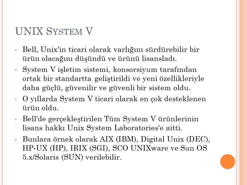 UNIX System V Bell, Unix in ticari olarak varlığını sürdürebilir bir ürün olacağını düşündü ve ürünü lisansladı.