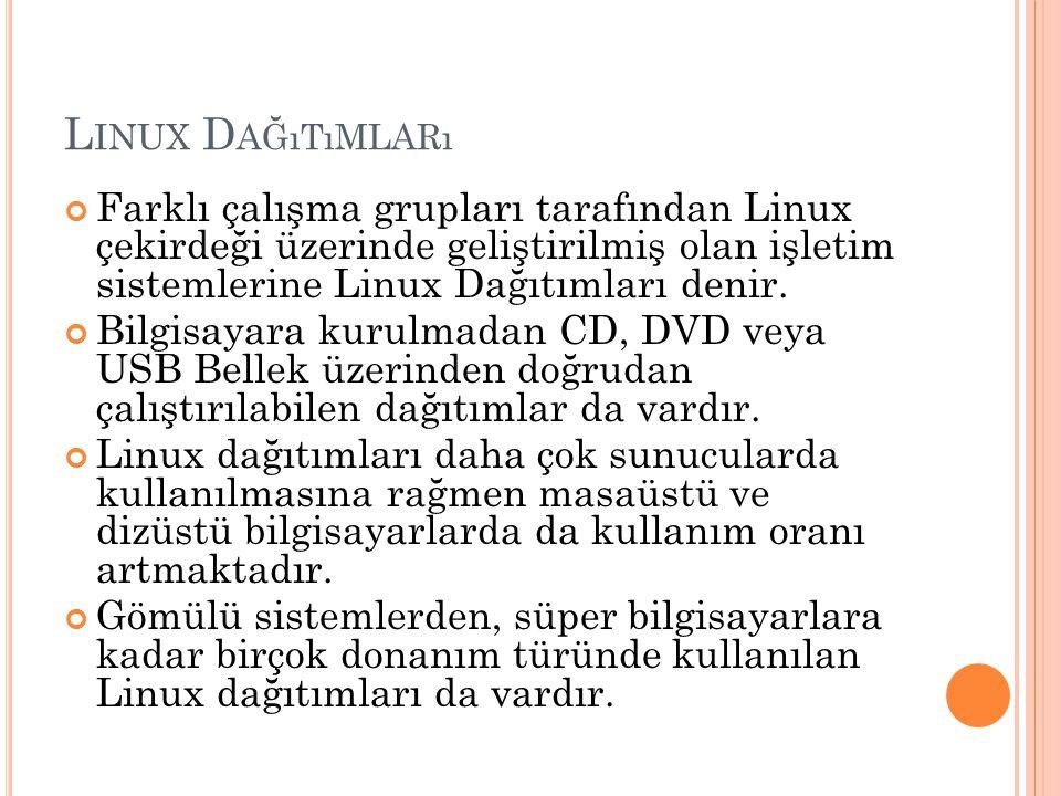 Linux Dağıtımları Farklı çalışma grupları tarafından Linux çekirdeği üzerinde geliştirilmiş olan işletim sistemlerine Linux Dağıtımları denir.