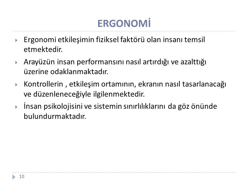 ERGONOMİ Ergonomi etkileşimin fiziksel faktörü olan insanı temsil etmektedir.