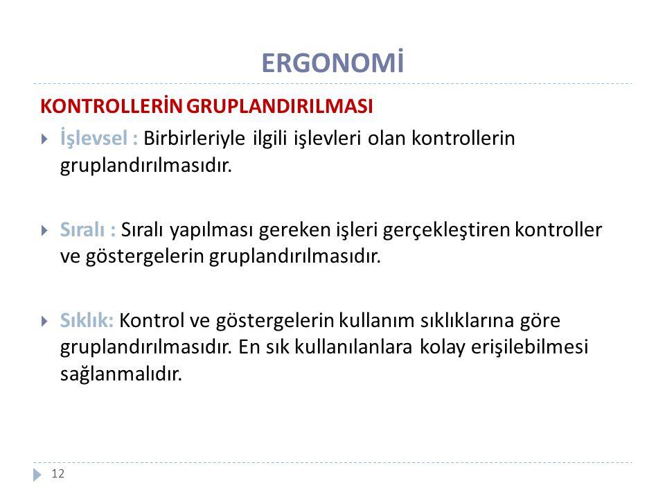 ERGONOMİ KONTROLLERİN GRUPLANDIRILMASI