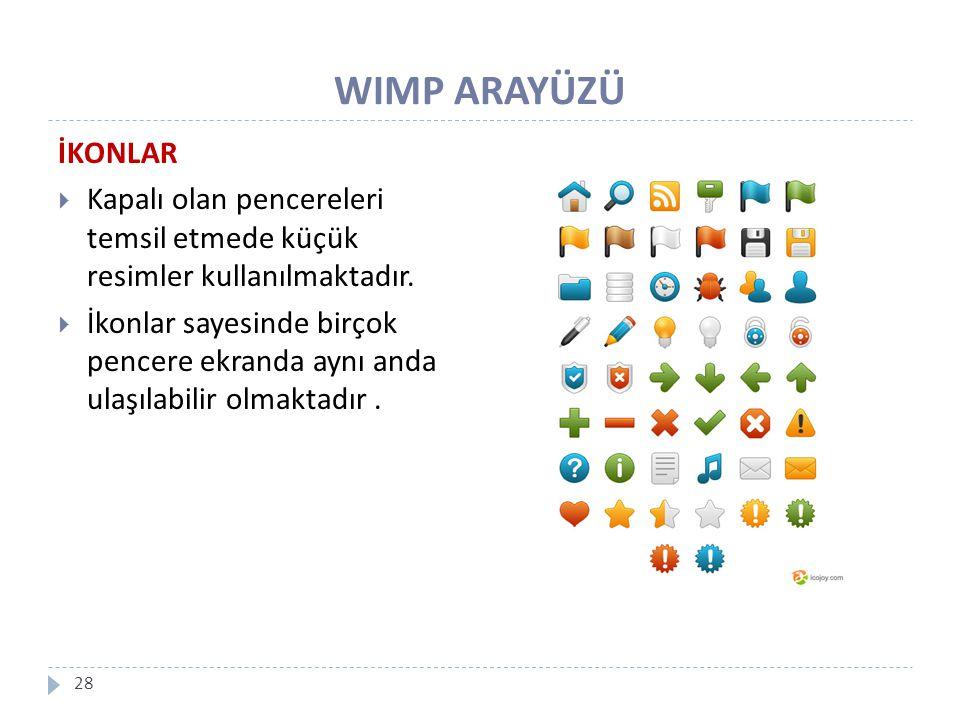 WIMP ARAYÜZÜ İKONLAR. Kapalı olan pencereleri temsil etmede küçük resimler kullanılmaktadır.