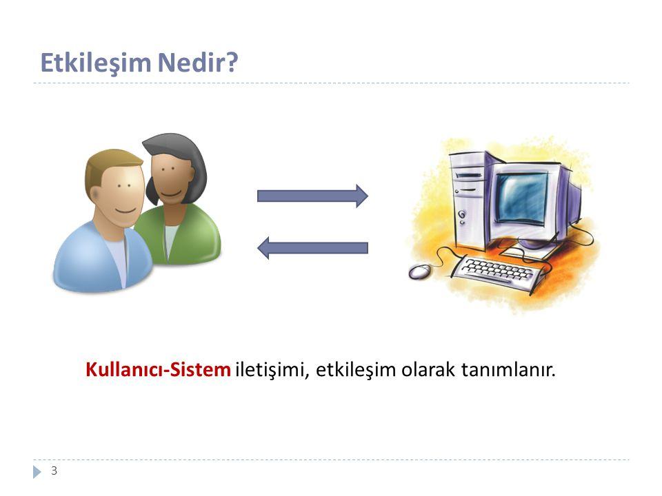 Kullanıcı-Sistem iletişimi, etkileşim olarak tanımlanır.