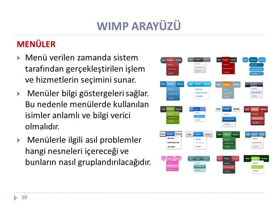 WIMP ARAYÜZÜ MENÜLER. Menü verilen zamanda sistem tarafından gerçekleştirilen işlem ve hizmetlerin seçimini sunar.