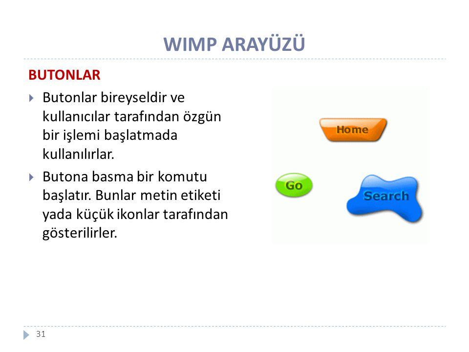 WIMP ARAYÜZÜ BUTONLAR. Butonlar bireyseldir ve kullanıcılar tarafından özgün bir işlemi başlatmada kullanılırlar.